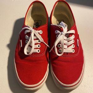 Red vans low top.